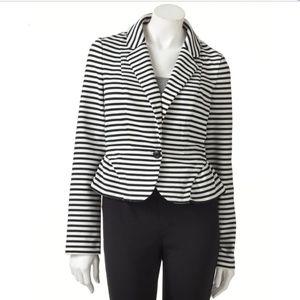 Elle Peplum Black and White  Striped Blazer Jacket